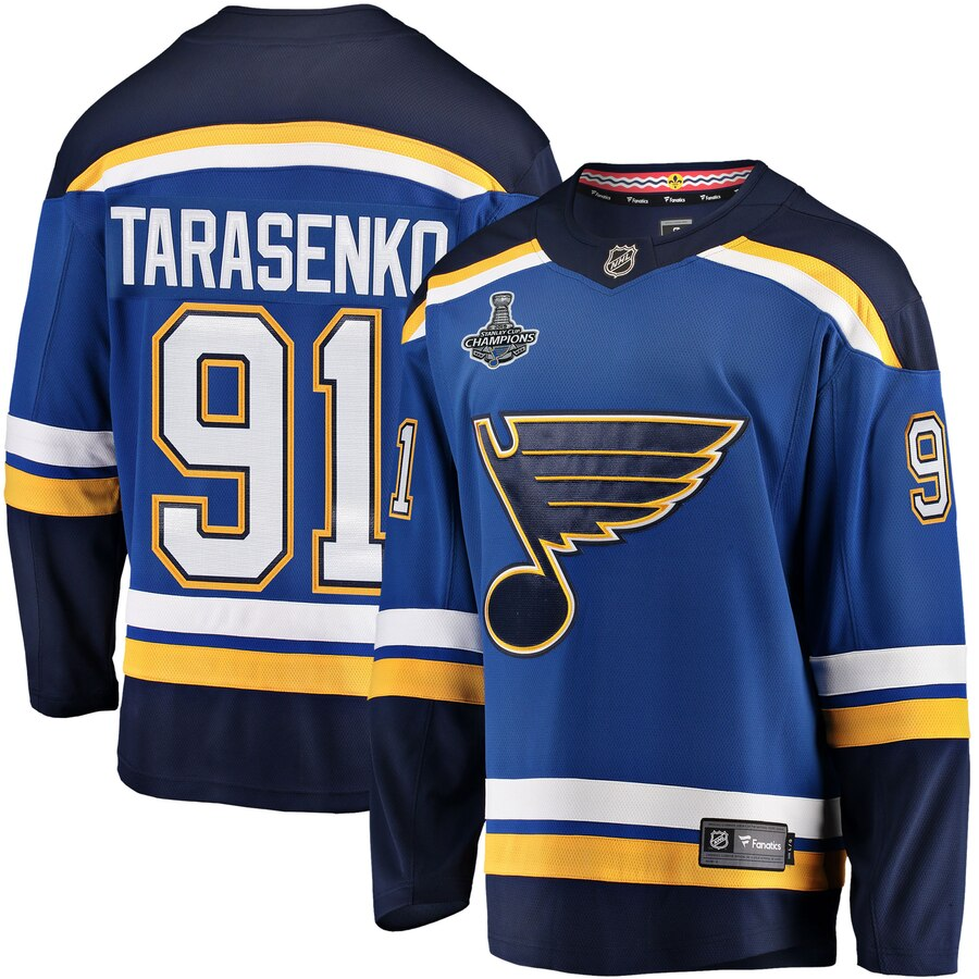 Men's St. Louis Blues #91 Vladimir Tarasenko 2019 Stanley Cup Final Bound Breakaway Blue Stitched NHL Jersey