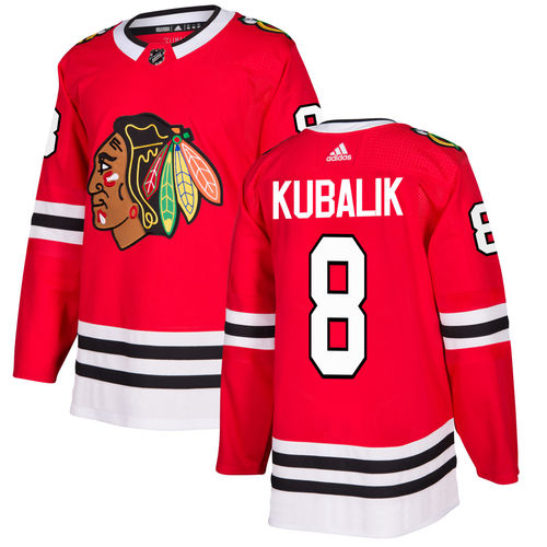 Men's Chicago Blackhawks #8 Dominik Kubalik Red Stitched NHL Jersey