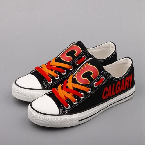 Women And Youth NHL Calgary Flames Repeat Print Low Top Sneakers