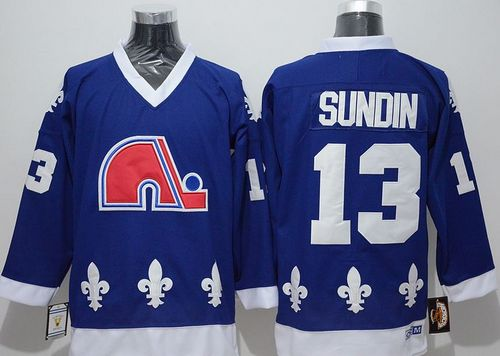 Nordiques #13 Mats Sundin Blue CCM Throwback Stitched NHL Jersey