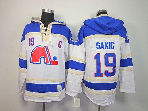 Nordiques #19 Joe Sakic White Sawyer Hooded Sweatshirt Stitched NHL Jersey
