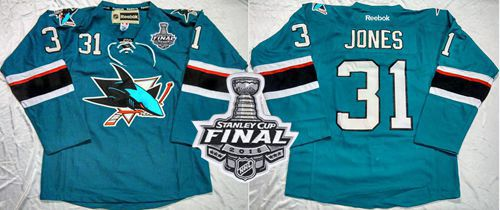 Sharks #31 Martin Jones Teal Home 2016 Stanley Cup Final Patch Stitched NHL Jersey