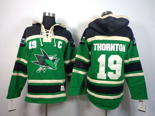 Sharks #19 Joe Thornton Green St. Patrick's Day McNary Lace Hoodie Stitched NHL Jersey