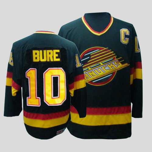 Canucks #10 Pavel Bure CCM Throwback Stitched Black NHL Jersey