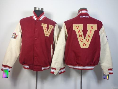 Vancouver Canucks Blank Satin Button-Up Red NHL Jacket
