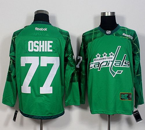 Capitals #77 T.J Oshie Green St. Patrick's Day New Stitched NHL Jersey