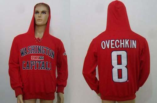 CCM Washington Capitals #8 Alex Ovechkin Red Lace Up Hoodie