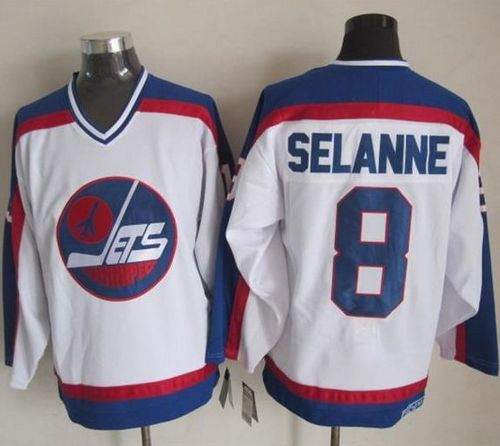 Jets #8 Teemu Selanne White/Blue CCM Throwback Stitched NHL Jersey