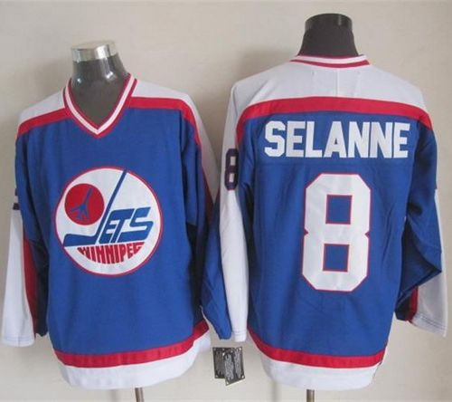 Jets #8 Teemu Selanne Blue/White CCM Throwback Stitched NHL Jersey