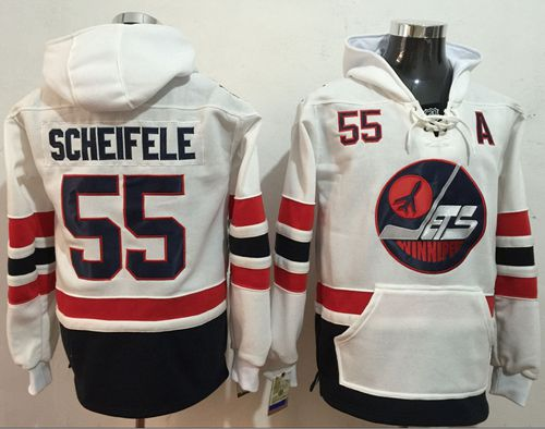 Jets #55 Mark Scheifele White Name & Number Pullover NHL Hoodie