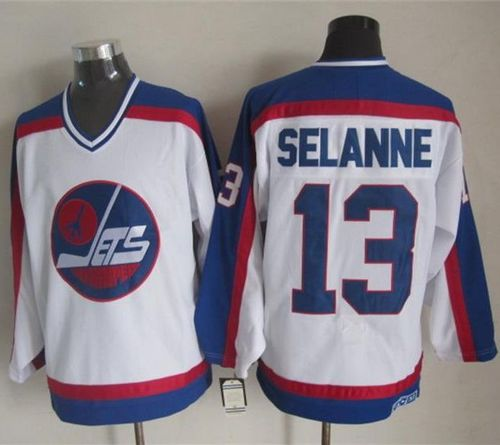 Jets #13 Teemu Selanne White/Blue CCM Throwback Stitched NHL Jersey
