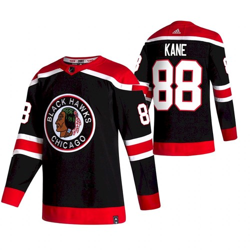 Men's Chicago Blackhawks #88 Patrick Kane 2020-21 Black Reverse Retro Stitched NHL Jersey