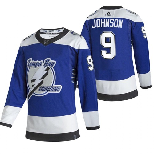 Men's Tampa Bay Lightning #9 Tyler Johnson 2021 Blue Reverse Retro Stitched NHL Jersey