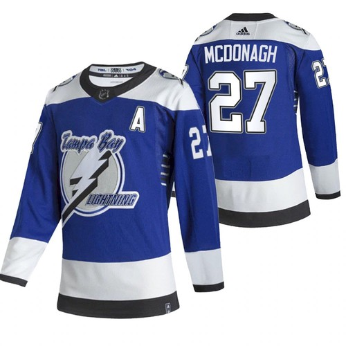 Men's Tampa Bay Lightning #27 Ryan McDonagh 2021 Blue Reverse Retro Stitched NHL Jersey