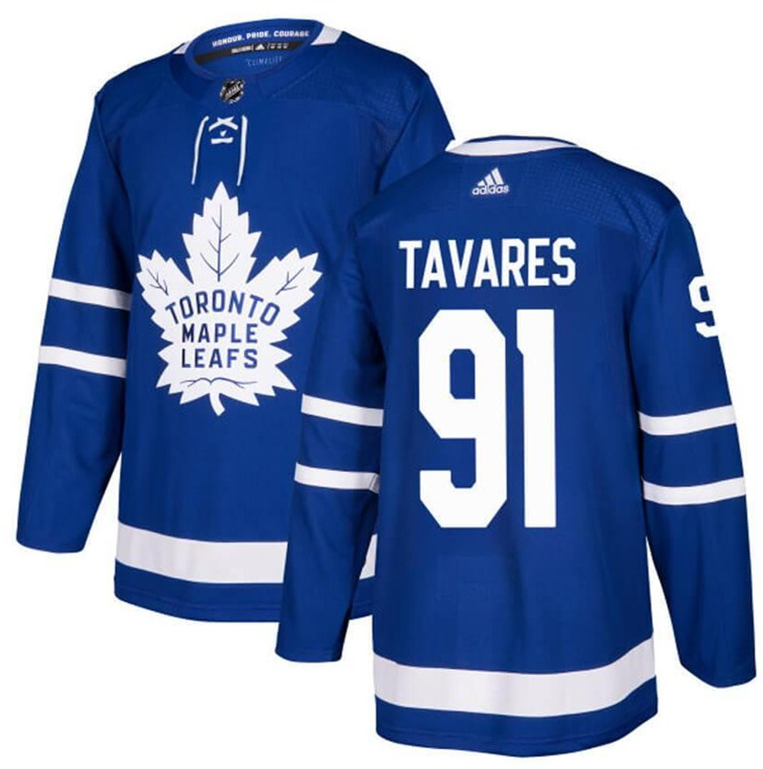 Men's Toronto Maple Leafs #91 John Tavares Blue Adidas Stitched NHL Jersey