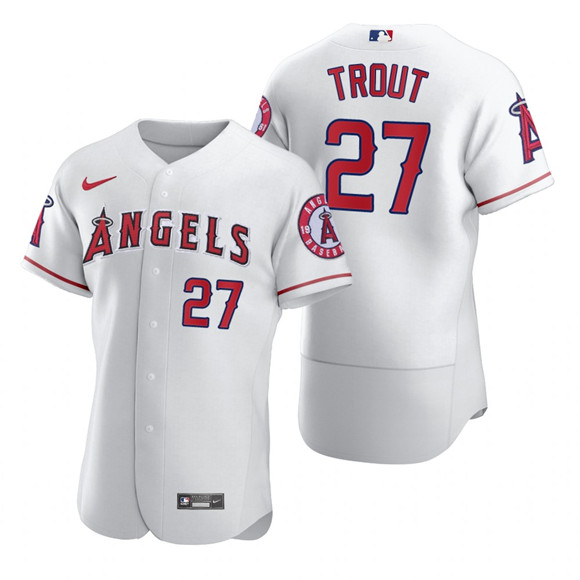 Men's Los Angeles Angels #27 Mike Trout 2020 White Cool Base Stitched MLB Jersey