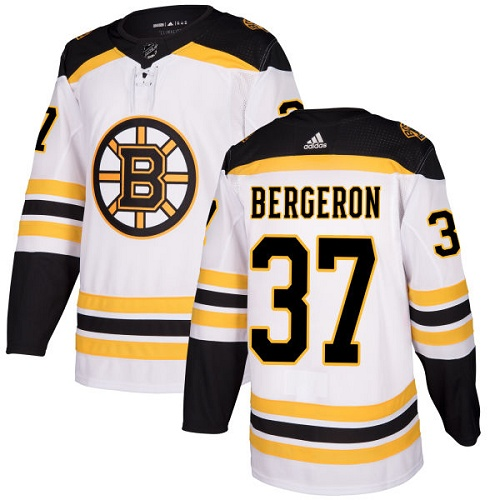 Men's Adidas Boston Bruins #37 Patrice Bergeron White Stitched NHL Jersey