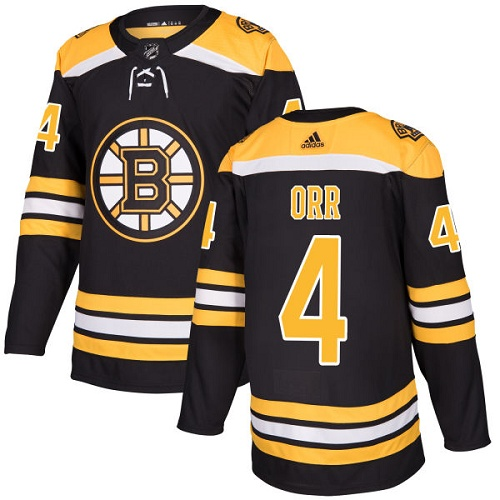 Men's Boston Bruins #4 Bobby Orr Black Throwback CCM Stitched NHL Jersey