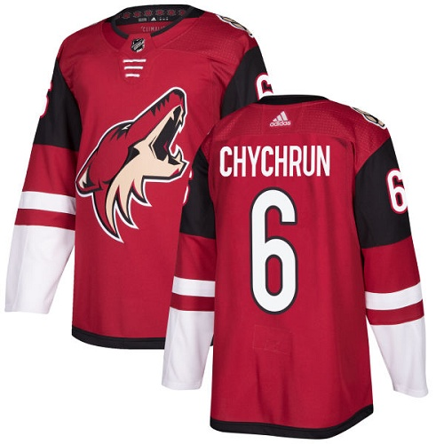 Men's Adidas Arizona Coyotes #6 Jakob Chychrun Burgundy Red 2018 Season Home Stitched NHL Jersey