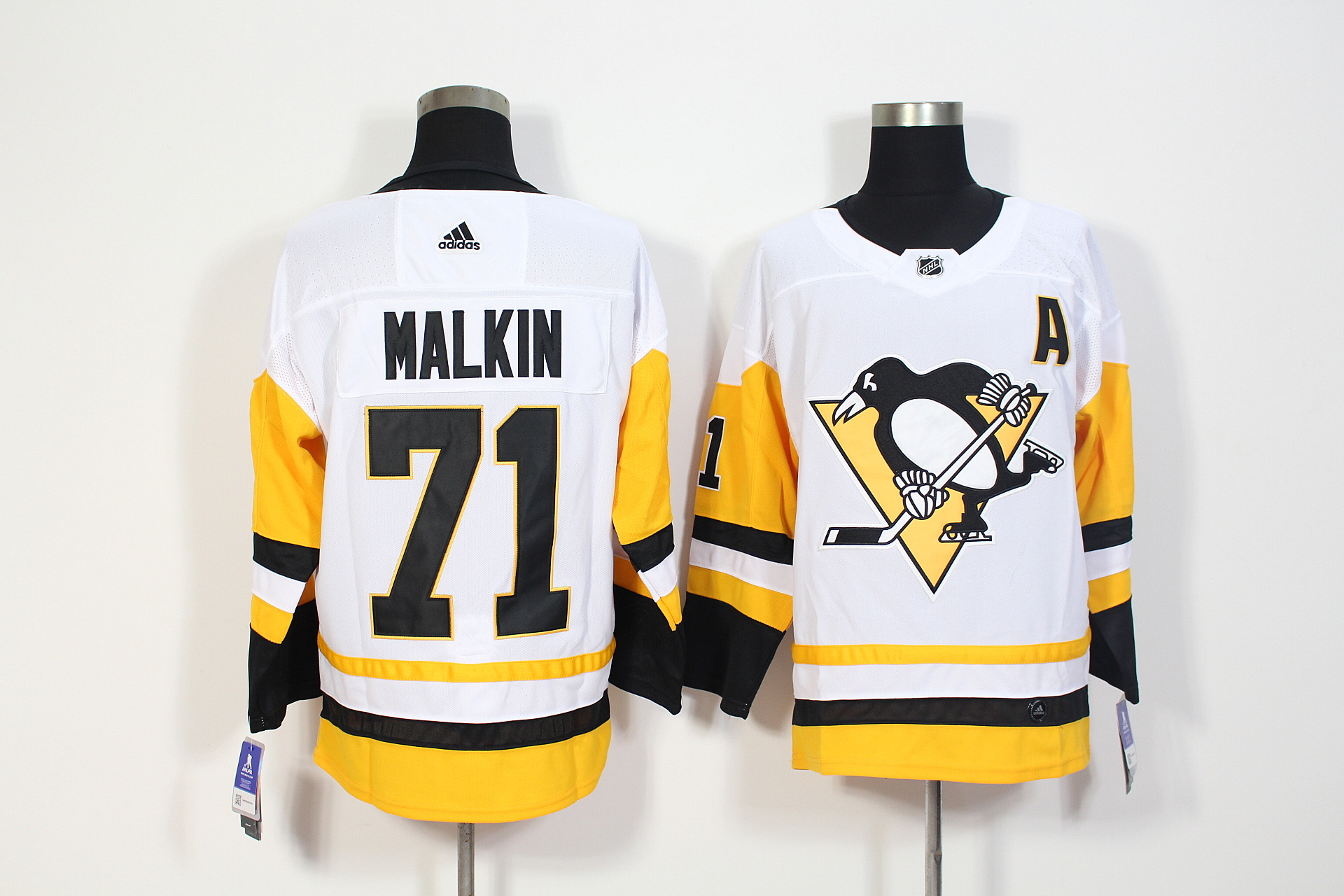 Men's Adidas Pittsburgh Penguins #71 Evgeni Malkin White Stitched NHL Jersey
