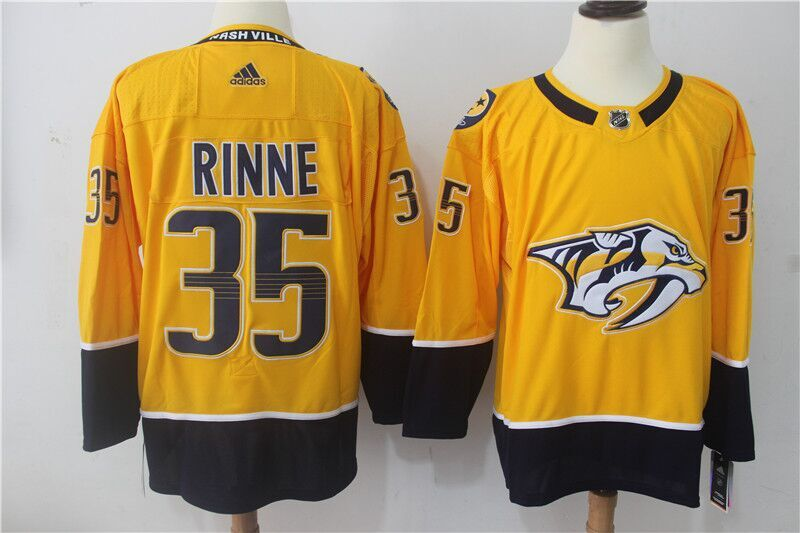 Men's Adidas Nashville Predators #35 Pekka Rinne Yellow Stitched NHL Jersey