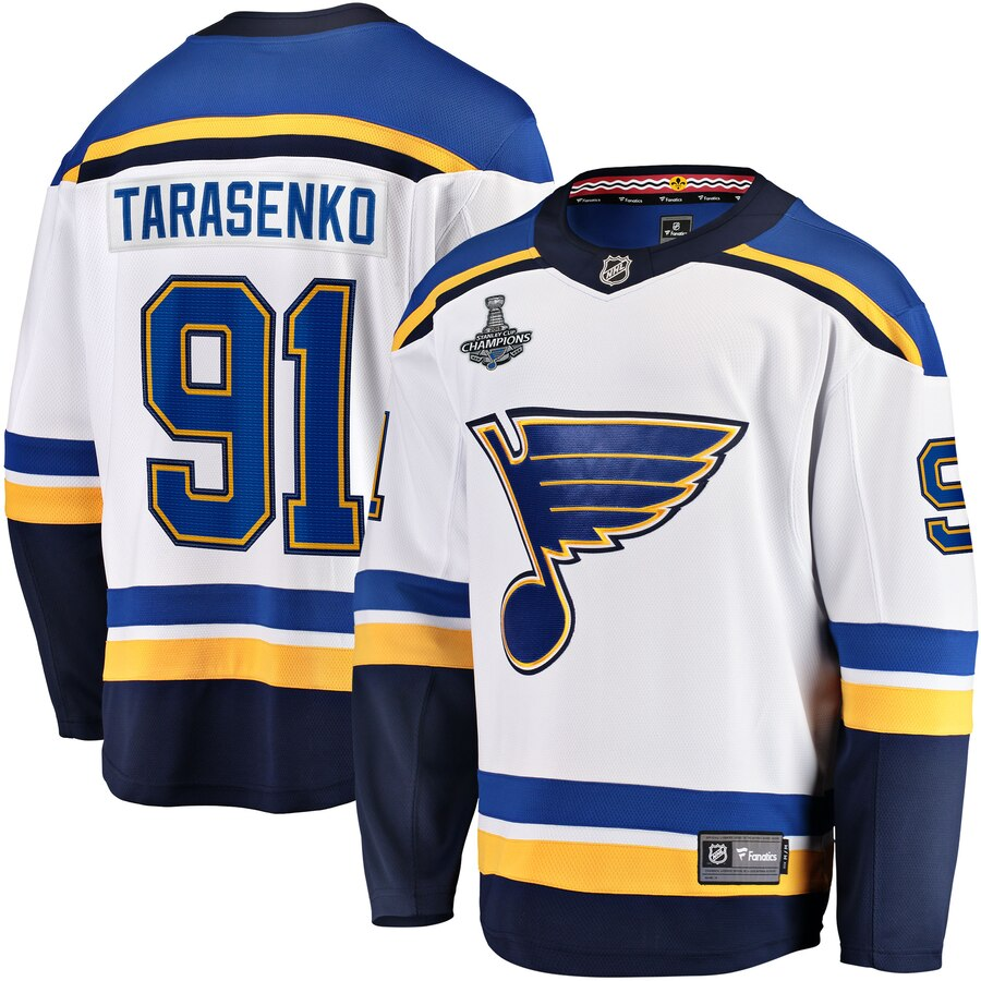 Men's St. Louis Blues #91 Vladimir Tarasenko 2019 Stanley Cup Final Bound Breakaway White Stitched NHL Jersey