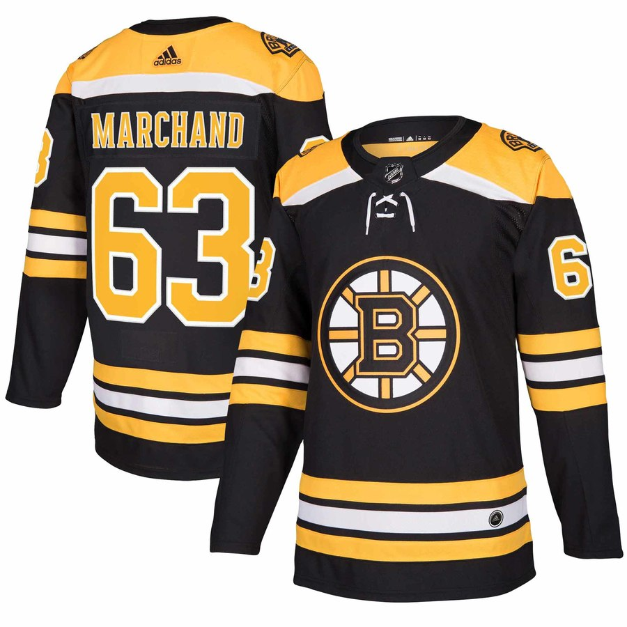 Men's Adidas Boston Bruins #63 Brad Marchand Black Stitched NHL Jersey