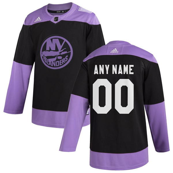Men's New York Islanders Adidas Black Hockey Fights Cancer Custom Practice NHL Stitched Jersey