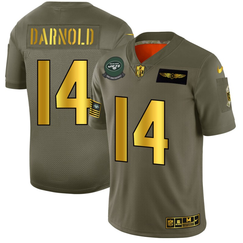 Men's New York Jets #14 Sam Darnold 2019 Olive/Gold Salute To Service Limited Stitched NFL Jersey