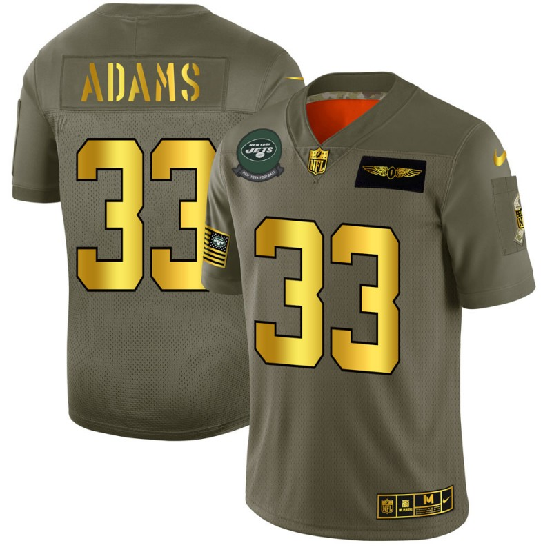 Men's New York Jets #33 Jamal Adams 2019 Olive/Gold Salute To Service Limited Stitched NFL Jersey