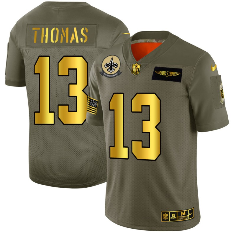 Men's New Orleans Saints #13 Michael Thomas 2019 Olive/Gold Salute To Service Limited Stitched NFL Jersey