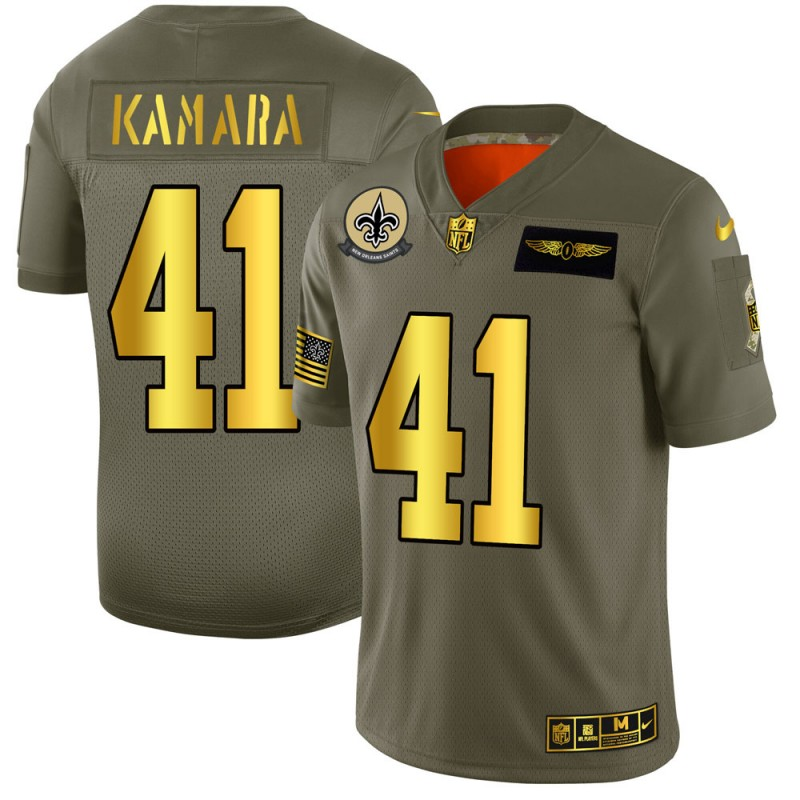 Men's New Orleans Saints #41 Alvin Kamara 2019 Olive/Gold Salute To Service Limited Stitched NFL Jersey