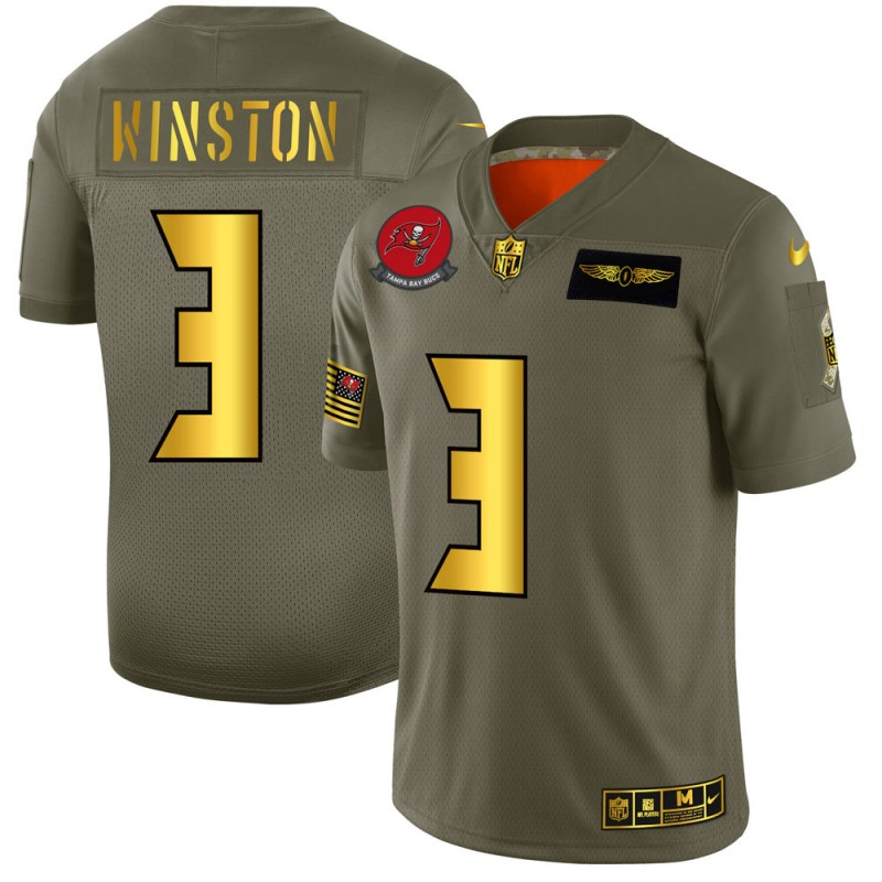 Men's Tampa Bay Buccaneers #3 Jameis Winston Olive/Gold 2019 Salute to Service Limited Stitched NFL Jersey