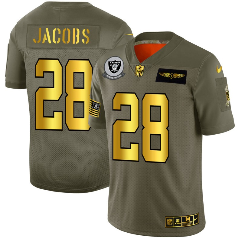Men's Oakland Raiders #28 Josh Jacobs 2019 Olive/Gold Salute To Service Limited Stitched NFL Jersey