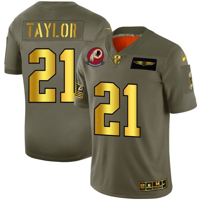 Men's Washington Redskins #21 Sean Taylor 2019 Olive/Gold Salute To Service Limited Stitched NFL Jersey