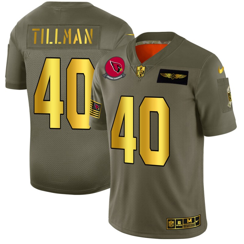 Men's Arizona Cardinals #40 Pat Tillman 2019 Olive/Gold Salute To Service Limited Stitched NFL Jersey