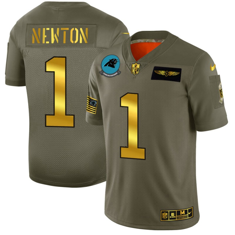 Men's Carolina Panthers #1 Cam Newton Olive/Gold 2019 Salute to Service Limited Stitched NFL Jersey