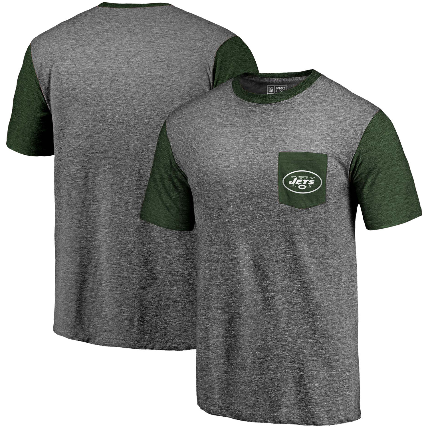 Men's New York Jets Pro Line by Fanatics Branded Heathered Gray-Green Refresh Pocket T-Shirt
