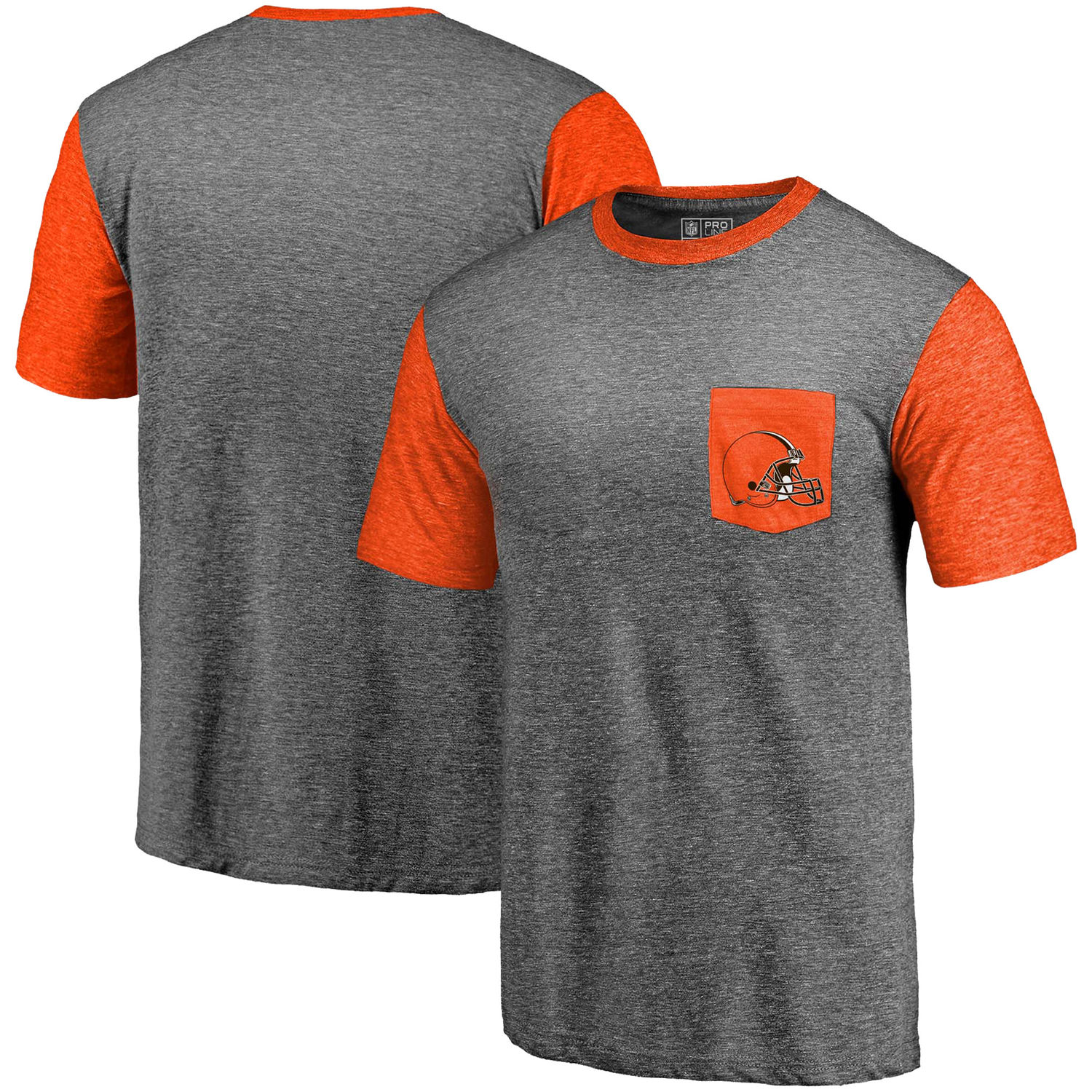 Men's Cleveland Browns Pro Line by Fanatics Branded Heathered Gray-Orange Refresh Pocket T-Shirt