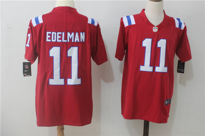 Men's Nike New England Patriots #11 Julian Edelman Red Alternate Stitched NFL Vapor Untouchable Limited Jersey