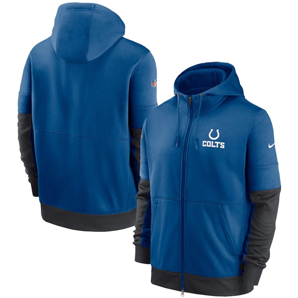 Men's Indianapolis Colts Royal Sideline Impact Lockup Performance Full-Zip NFL Hoodie