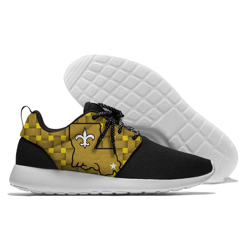 Men's NFL New Orleans Saints Roshe Style Lightweight Running Shoes 002