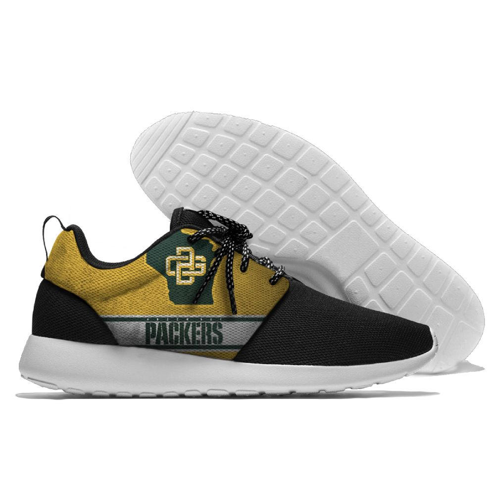 Women's NFL Green Bay Packers Roshe Style Lightweight Running Shoes 001