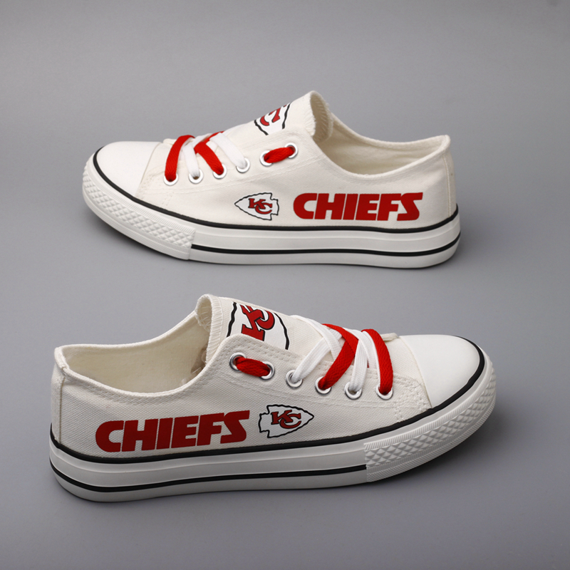 Women and Youth NFL Kansas City Chiefs Repeat Print Low Top Sneakers 007