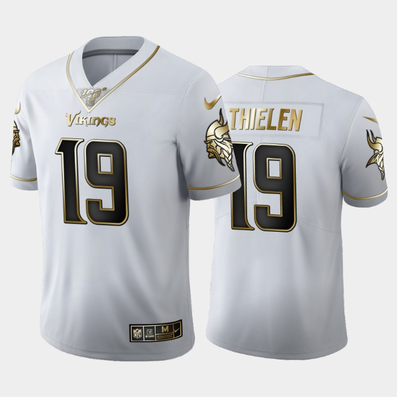 Men's Minnesota Vikings #19 Adam Thielen White 2019 100th Season Golden Edition Limited Stitched NFL Jersey