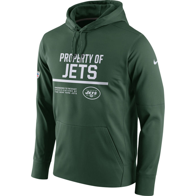 Men's New York Jets Nike Green Circuit Property Of Performance Pullover Hoodie