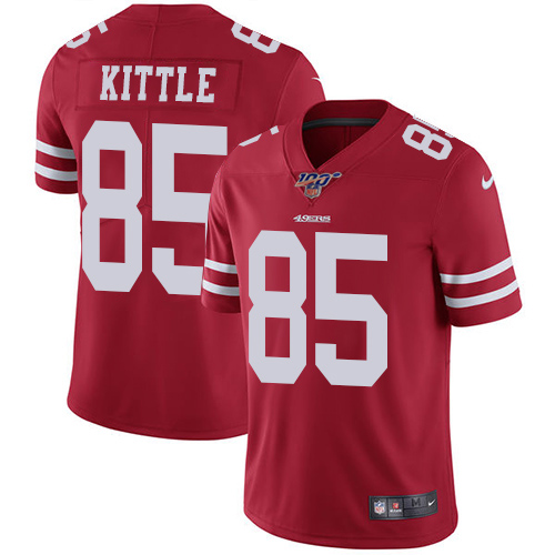 Men's San Francisco 49ers 100th #85 George Kittle Red Vapor Untouchable Limited Stitched NFL Jersey