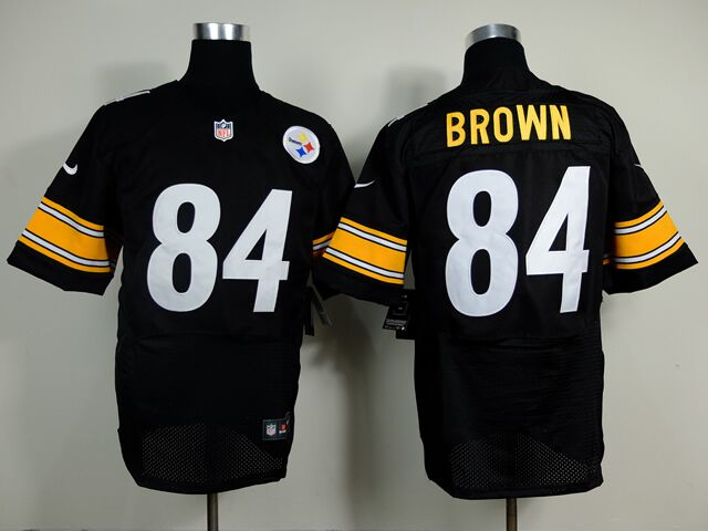 Men's Nike Pittsburgh Steelers #84 Antonio Brown Black Stitched NFL Elite Jersey