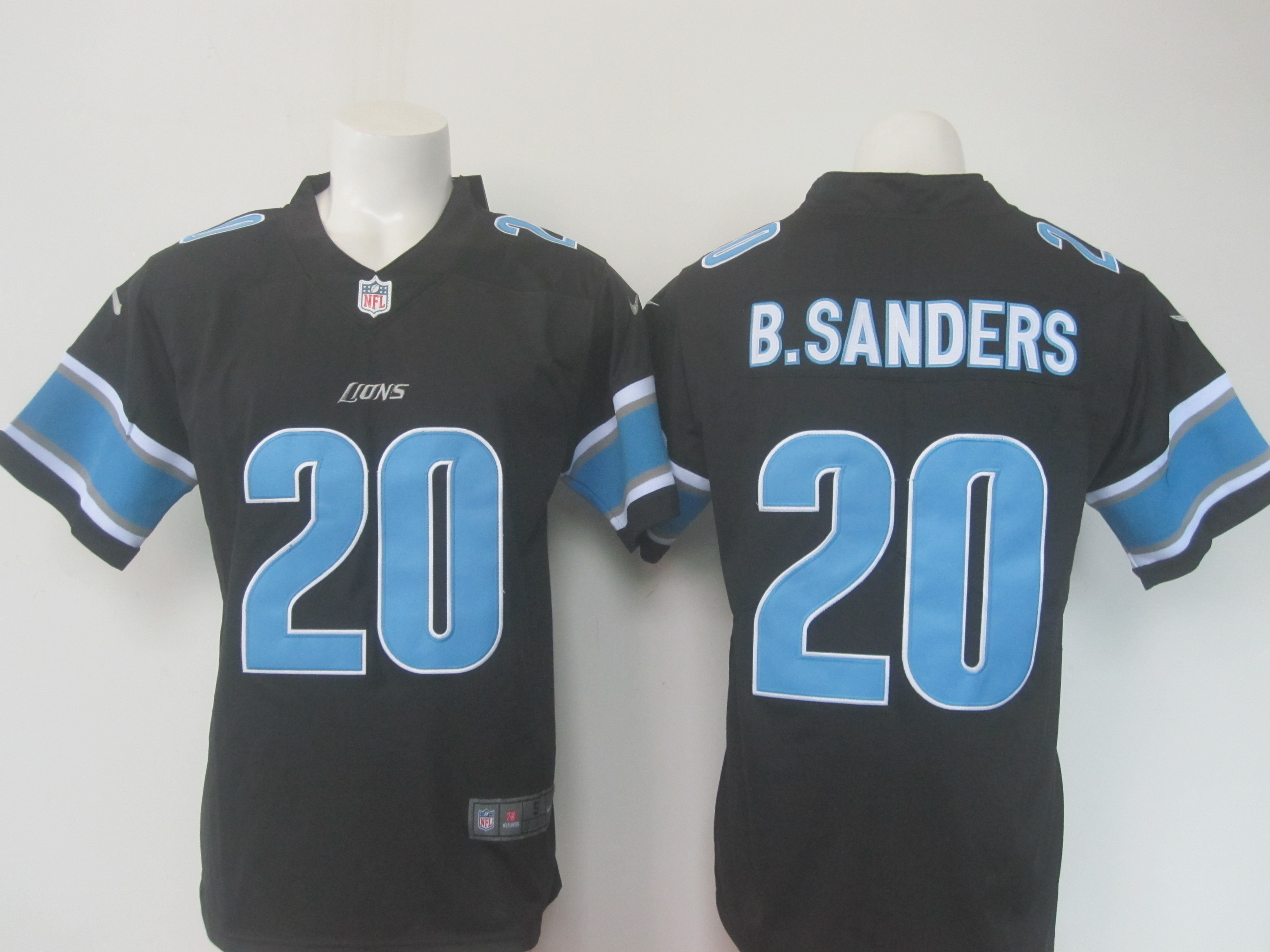 Men's Nike Lions #20 Barry Sanders Black Limited Rush Stitched NFL Jersey
