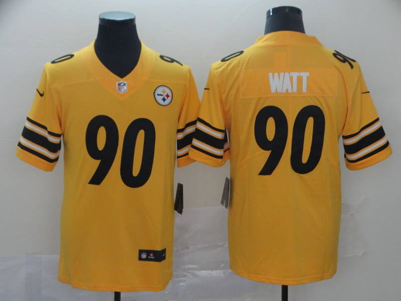 Men's Pittsburgh Steelers # 90T. J. Watt 2019 Gold Inverted Legend Stitched NFL Jersey